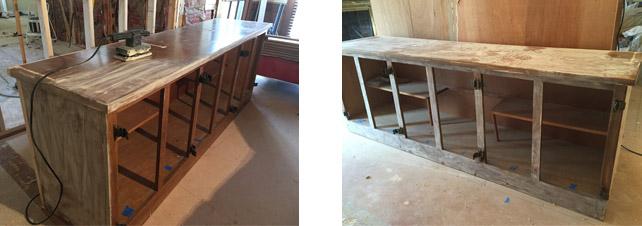 built-in-bookcase-sanding