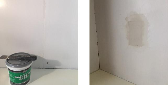 built-in-bookcase-spackling-paste-filling-cracks-seams