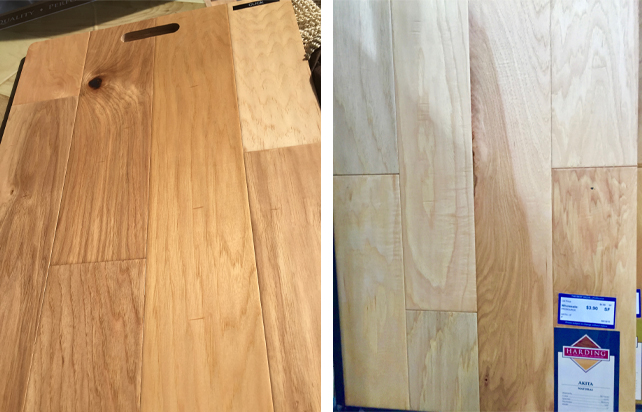 Hickory engineered flooring samples