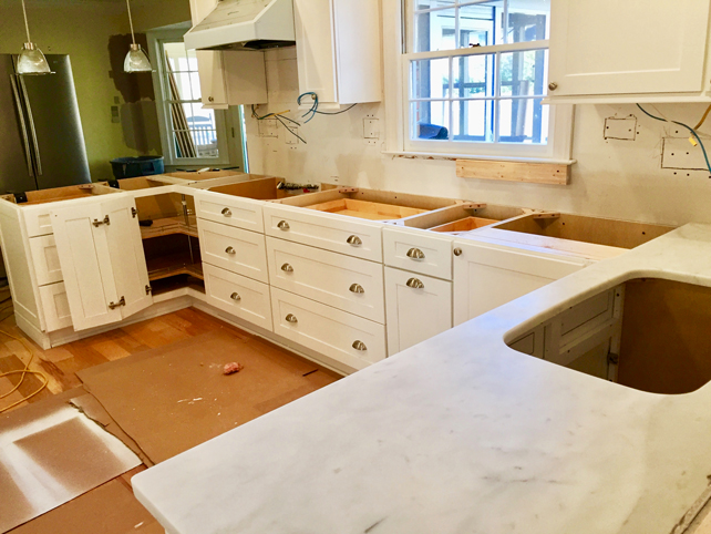 Kitchen Renovation - Installing Cabinets and Marble