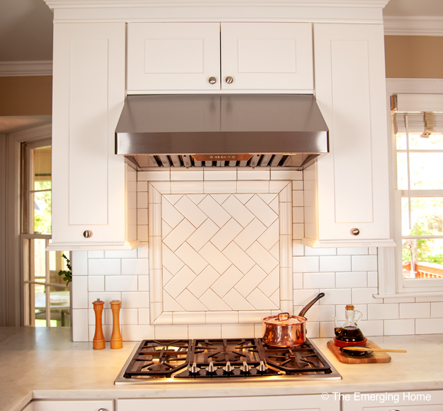 subway tile behind range