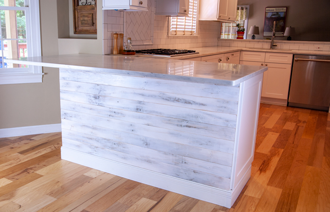 Finished counter height bar with light distressed finish