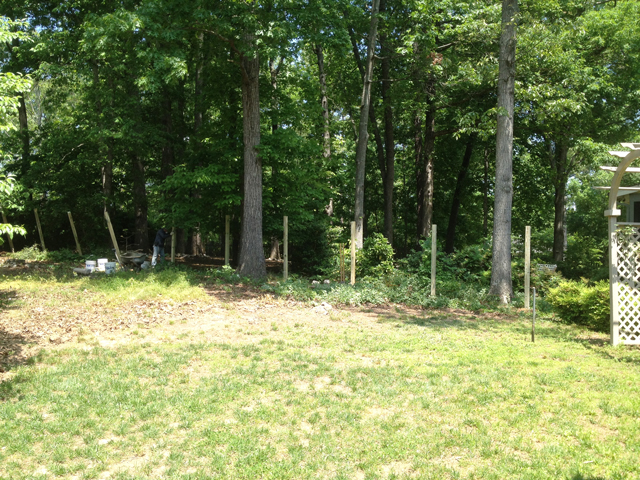 Wooded property line between two homes show the start of fence post being set for a fence