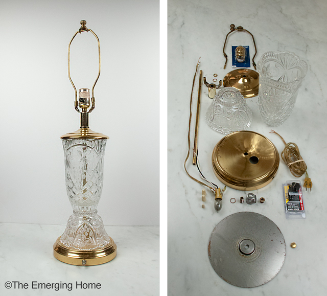 brass and crystal lamp without shade is pictured beside an image of the lamp completely disassembled and pieces laid out in order
