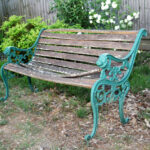 iron garden bench before restoration