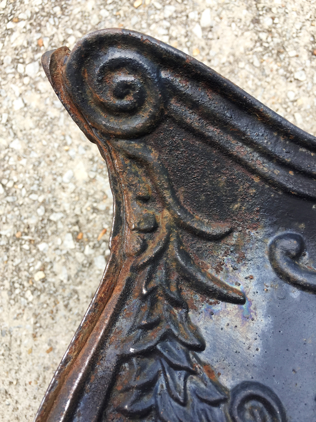 decorative iron detail on planter