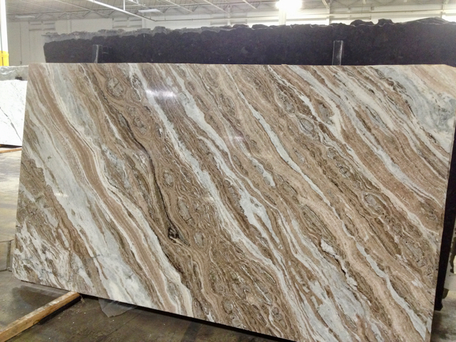 Heavy, diagonally patterned stone slab in brown and white color tones