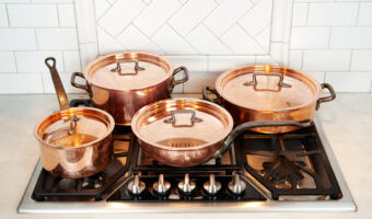 polished copper pan set