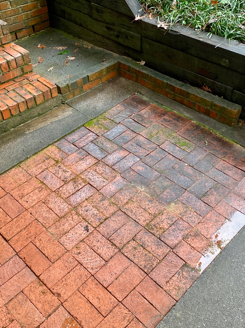 brick patio sections before and after cleaning
